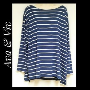 Ava & Viv Navy White Striped Tunic NWT's Size 3X